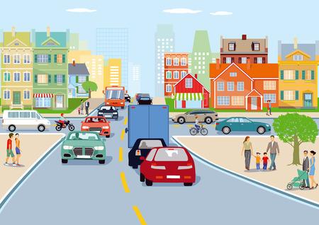 City with traffic illustration Ilustração