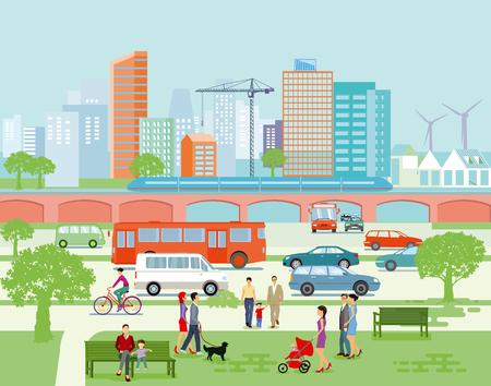 Large city panorama with road traffic and pedestrians Ilustração
