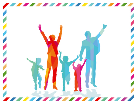 Joyful family are cheerful