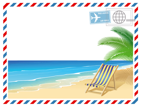 Holidays by the sea with deck chair Illustration
