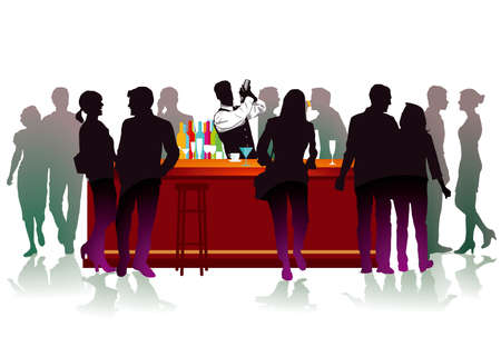 Bar with bartender, cocktail mix