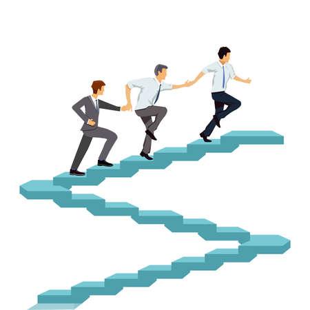 Successfully climb up together, teamwork illustration Ilustração
