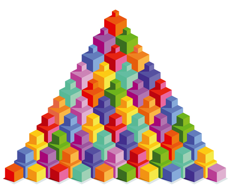 Pyramid of colorful cubes isolated on a white background. Vector illustration
