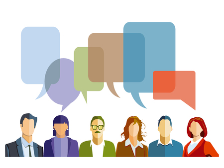 Discussion in the group with speech bubbles isolated on a white background. Vector illustration Ilustração