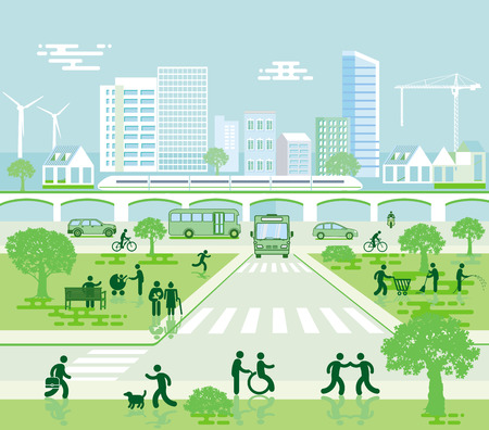 Paysage urbain avec circulation locale et piétons
