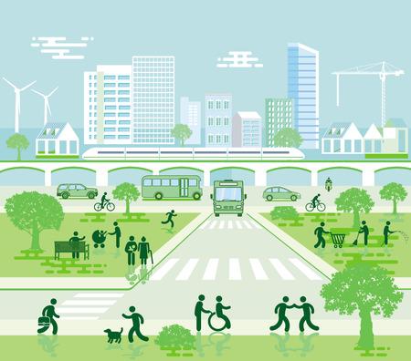 Stadsgezicht met bestemmingsverkeer en voetgangers