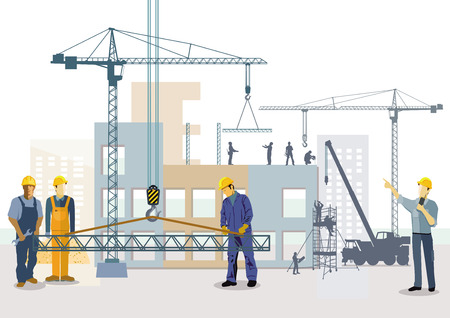 Building house. Work process of building construction