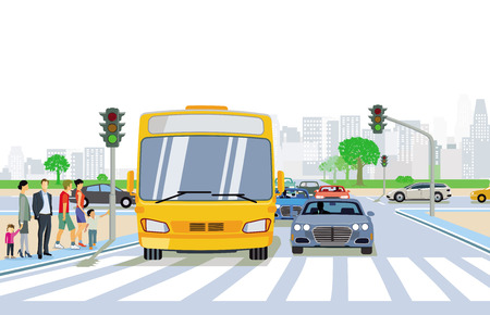 Road traffic with pedestrian and pedestrian crossing