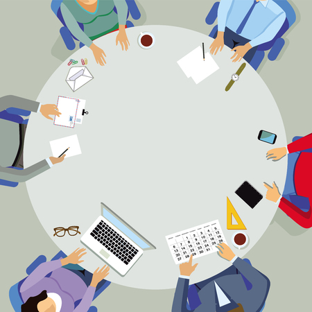 meeting, and discussion in the group at the round table