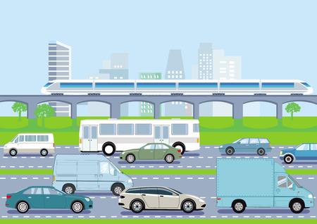 Road traffic and public transportation, illustration