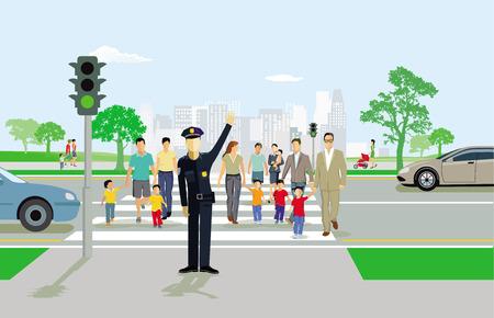Pedestrians at the pedestrian crossing with policeman Ilustração