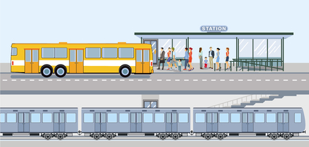 Subway and bus station with guests
