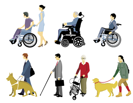 Disabled Persons with Walking Aids, Isolated Ilustração