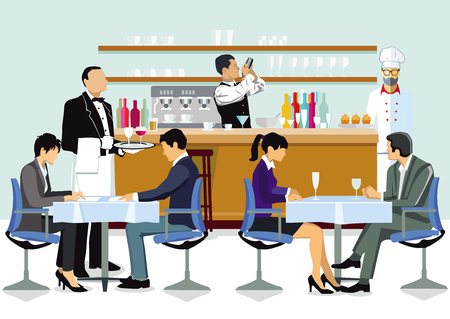 Restaurant with guests, waiters and cook