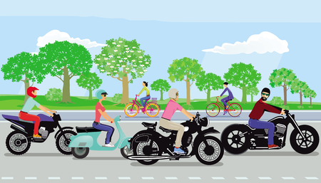 Motorcycles, scooters in the group