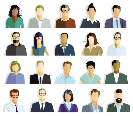 Persons portrait, faces illustration
