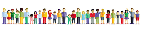 Kids on a white background in a row