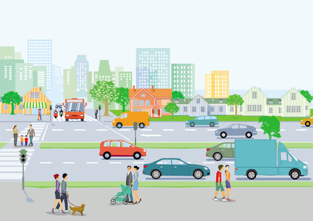 Public transport with pedestrians and road traffic, illustration