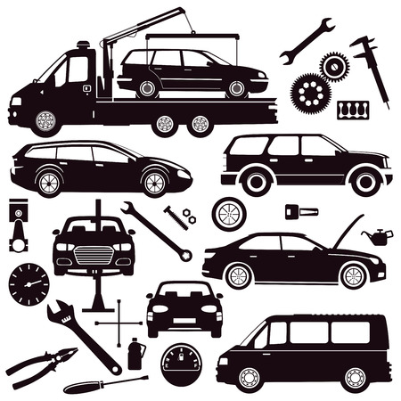 Car repair shop with tools, icon