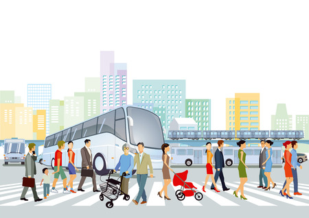 Public transport with pedestrians