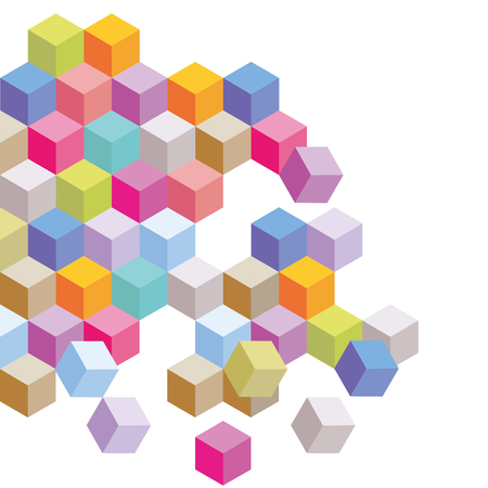 Colored cubes, background elements