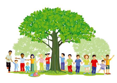 Children outside around a tree