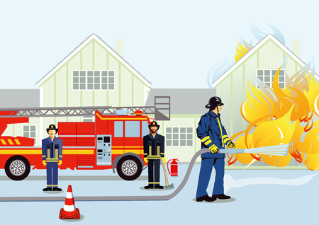 Fire brigade with house fire Illustration