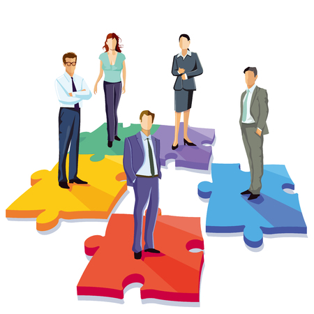Group of business people solving puzzle