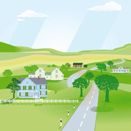Landscape illustration with houses and country road Ilustração