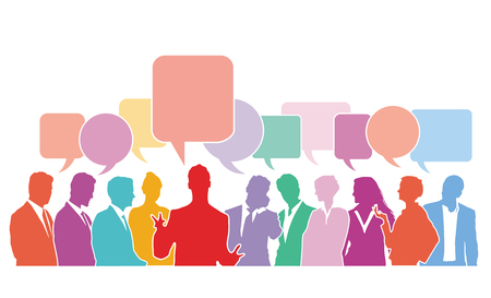Question and Answer Speech bubbles with group of people, illustration Stockfoto - 125505069
