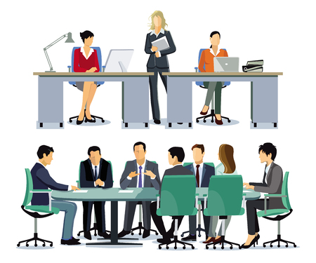 Business team at cooperation - illustration