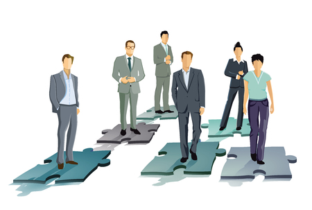 Group of business people decide, symbol representation