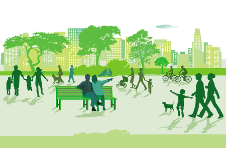 Families in leisure free activity, illustration