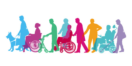 disabled people and seniors 向量圖像