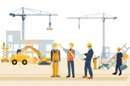 Transportation and workers on the construction site. illustration Illustration