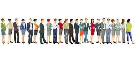 een groep zakenmensen staat samen Vector Illustratie
