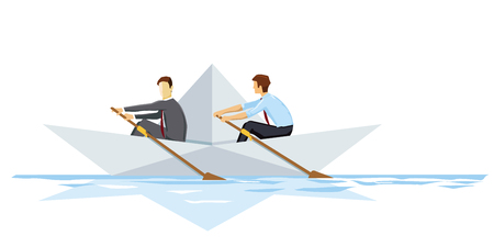 Rowing, cooperation concept, illustration,