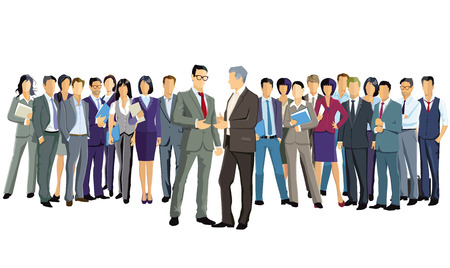 Un gruppo di uomini d'affari è in piedi insieme Vettoriali