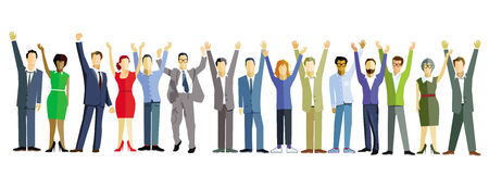 Large group of business people celebrates - illustration Vectores