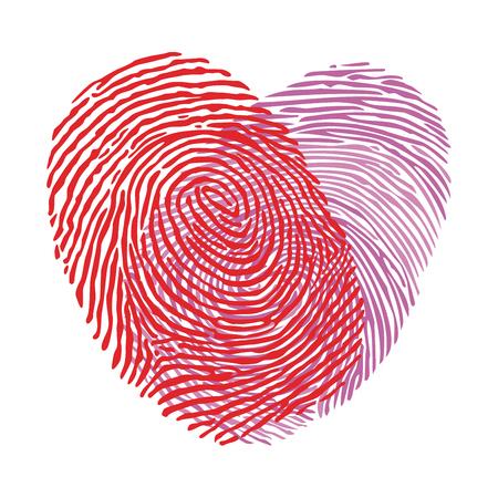 two fingerprints in love 矢量图片