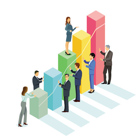 Successful business balance sheet, graph Illustration