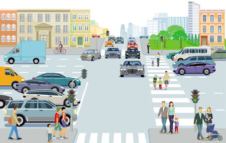 City with traffic and pedestrians on the sidewalk Ilustração