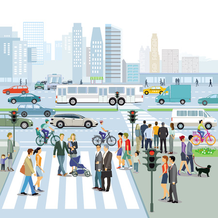 Road traffic with pedestrians and cars on urban street Ilustração