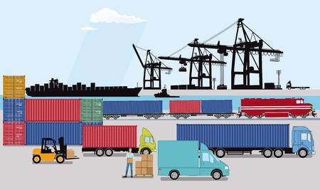 Porto commerciale con treno merci, camion e nave portacontainer