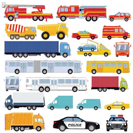 Gruppe von Autos, Lieferwagen, Bussen und Transportmitteln