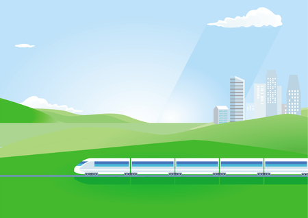Fast train in the countryside illustration, railroad track