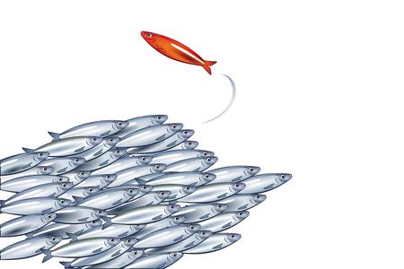 Banc de poissons l'un dans l'autre sens