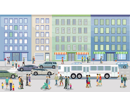 Road traffic with pedestrians and cars on urban street Illustration