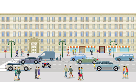City with pedestrian and road junction, illustration Illusztráció