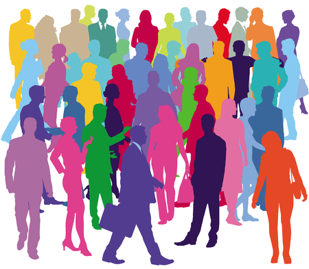 Group of people are in the community, illustration Vetores
